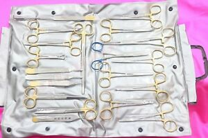 German Gold 80 Pcs General Surgery Spay Pack Surgical Dental Instruments Kit