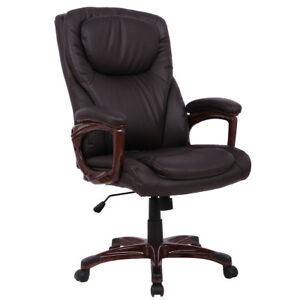 Ergonomic Office Chair High Back Pu Leather Executive Computer Desk Task Brown
