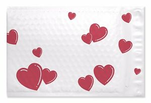 250 0 Heart Poly Bubble Padded Mailers 6 25 X 9 25