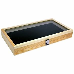 Knife Display Case Wood With Glass Lid And Black Pad 2 3 4 Deep Case