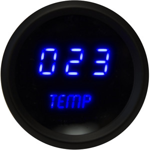 2 1 16 Universal Digital Oil Temp Gauge Blue Leds Black Bezel Lifetime Warranty