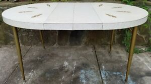 Vintage Mid Century Retro Formica Kitchen Table Brass Legs 2 Leaves 59 X 41
