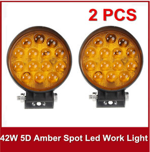2pcs 42w 5d 4 Amber Round Led Work Light Spot Fog Lamp Jeep Offroad Boat Yellow