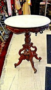 Victorian Fancy Round Marble Top Center Valnut Carved Ornate Parlor Lamp Table