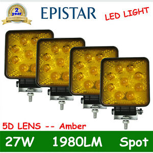 4x 27w Led Spot Work Light Offroad Driving Amber Warning Lamp 5d Opticals Yellow