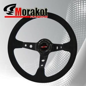 350mm Deep Dish 6 Bolt Suede Leather Steering Wheel Black Center blue Stitching