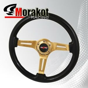 Universal 6bolt 345mm Deep Dish Steering Wheel Heavy Duty Gold Center Black Wood