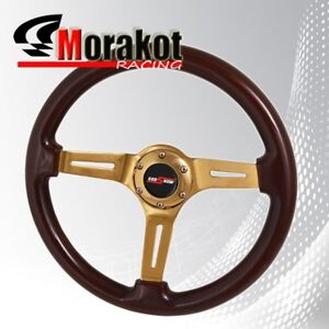 Universal 6 Bolt 345mm Deep Dish Steering Wheel Heavy Duty Gold Center Dark Wood