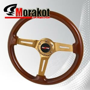 Universal 6 Bolt 345mm Deep Dish Steering Wheel Heavy Duty Gold Center Lightwood