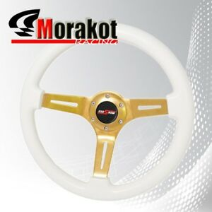 Universal 6 Bolt 345mm Deep Dish Steering Wheel Heavy Duty Gold Center Whitewood