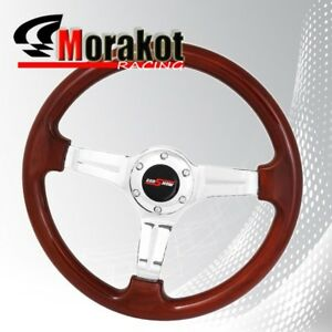 350mm 1 75 Deep Dish Dish Heavy Duty 6 Bolt Steering Wheel Chrome Wood Style