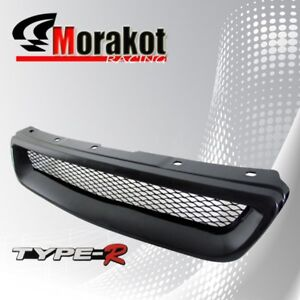 Honda Civic 96 98 Jdm Front Bumper Grille Grill Black Type R Style With Emblem