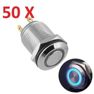 50 X 12mm Blue Led Light Momentary Push Button Switch Stainless Waterproof no