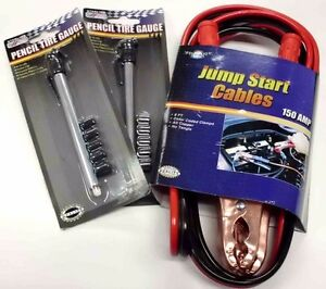 8 Tangle Free Jump Start Cables W Copper Color Coded Clamps 2 Tire Gauge Pk