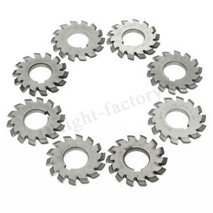 8pcs Gear Milling Cutter Hss 8h Set 8 Pcs Dp16 Pa14 1 2 Bore22 No1 8 Involute