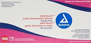10 Pack Dynarex Safe touch Powder free Latex Exam Gloves Large 100 Per Box