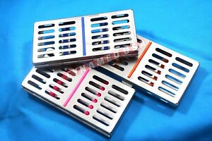 German 3 Dental Sterilization Cassette Rack Tray Box For 7 Surgical Instruments