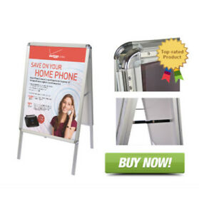Double Side Sidewalk Snap Frame Sandwich Sign Board With Protective Covers 2 Pcs