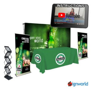 Trade Show Kit 4 Fabric Pop Up Roll Up Banner Table Throw Literature Rack