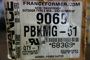 France Electric Sign Repair 9060 Pbkmg 51 Outdoor Type 5 Neon Transformer Nib