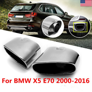 Pair Stainless Steel Dual Exhaust Muffler Tail Pipe Tip For Bmw X5 E70 08 13 Usa