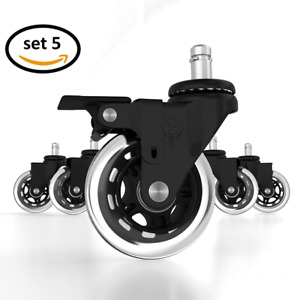 Office Chair Caster Wheels Locking Casters Replacement Black Rubber Wheels
