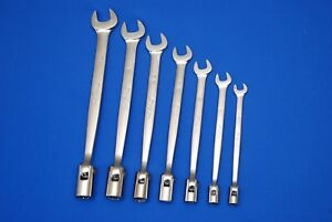 Snap on 7 Pc 12 point Sae Flex Head open End Combo Wrench Set Fho607b Ships Free