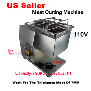 110v Stainless Commercial Meat Slicer Cutting Machine Cutter 250kg h 7mm Blade