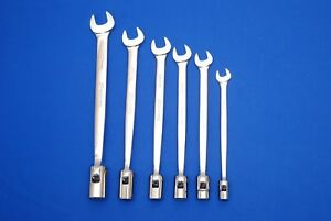 Snap on 6 Pc 12 pt Metric Flex Head open End Combo Wrench Set Fhom606b Shipsfree