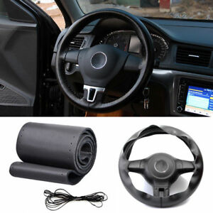 Car Auto Diy Black Imitation Leather Steering Wheel Cover Wrap Sew On Kit 38cm