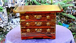 Antique Korean Carved 3 Drawers Chest Cabinet With Brass Etched Decoration