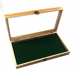 6 Oak Stained Wood Glass Top Green Pad Display Box Case Medals Jewelry Knife