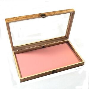2 Oak Stained Wood Glass Top Pink Pad Display Box Case Medals Jewelry Knife