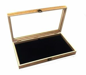 6 Oak Stained Wood Glass Top Black Pad Display Box Case Medals Jewelry Knife