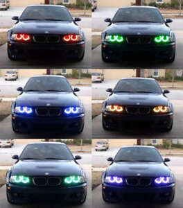 Xenon Rgb Multi color Led Angel Eyes Headlight For Bmw E38 E39 E46 3 5 7 Series