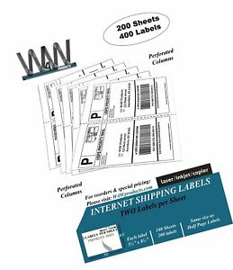 Double Pack 200 Sheets 400 Labels 2 up Half Sheet Self Adhesive Internet