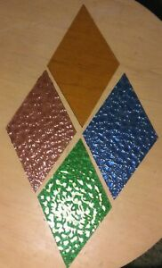 Vintage Lot Of 4 Diamond Shaped Stained Glass Window Pains Cobalt Blue Green
