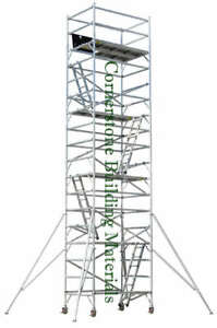 Aluminum Scaffold Rolling Tower 27 Deck High With Guard Rail Access Ladder Cbm