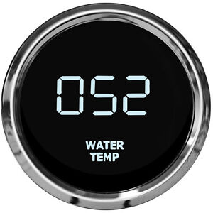 Led Digital Water Temperature Gauge W Sender White Leds Chrome Bezel Dash Auto