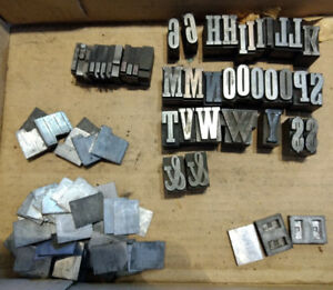 Vtg Metal Letterpress Print Block Alphabet Letters Symbols And Spacers Lot