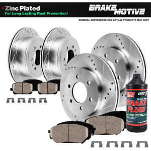 Front Rear Drill Brake Rotors And Ceramic Pads For 2005 2012 Nissan Pathfinder