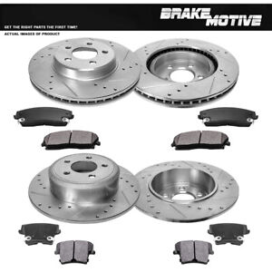Front Rear Drilled Slotted Brake Rotors And Metallic Pads Chrysler Dodge 2wd Rwd