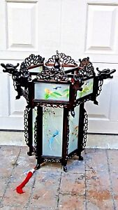Antique Chinese Carved Rosewood Dragon Reverse Glass Painted Panels Lantern Lamp