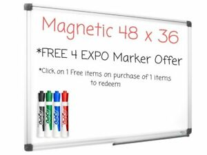 Magnetic White Board 36x48 Premium Dry Erase Vertical horizontal Mount W marker