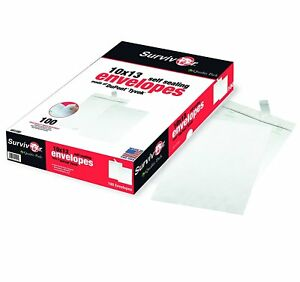 Quality Park Tyvek Open End 10 X 13 Inch White Envelopes 100 Count R1580