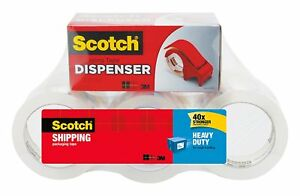 Scotch Heavy Duty Shipping Packaging Tape Tape With Hand Dispenser 3 Core X