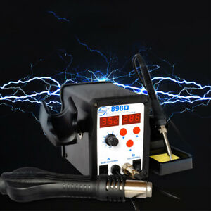 898d Hot Air Gun Digital Soldering Iron 2 In 1 Rework Solder Station 220v 110v
