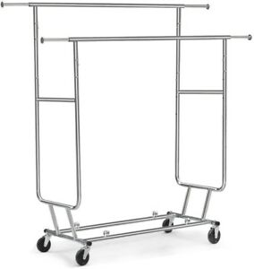 Commercial Grade Collapsible Clothing Rolling Double Garment Rack