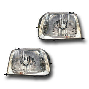Fits 01 04 Toyota Sequoia Tundra Driver Passenger Headlight Lamp Assembly 1 Pair