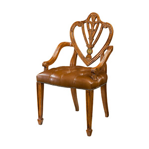 Hepplewhite Carved Armchair With Tufted Leather